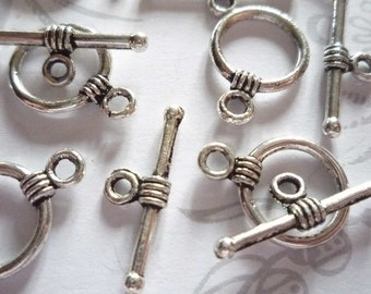 Antiqued Silver 11mm Toggle Clasps - Qty 9 Sets