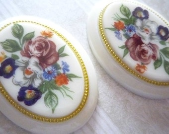 Vintage Decal Picture Stones - Floral Bouquet Cameos on Ivory Base with Gold Rim - 40 X 30mm Cabochons - Qty 1