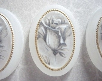 Vintage Decal Picture Stones - Silver Rose Cameos on Matte Crystal Base with Gold Rim - 25 X 18mm Cabochons - Qty 2