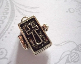 Bible Prayer Box Locket in Antiqued Silver Three Dimensional Pendant Charm