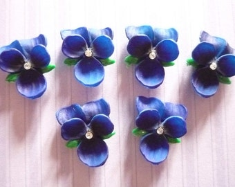 Blue Violet with Chaton Rhinestone Center Flowers 14 X 12mm Cabochons - Qty 2