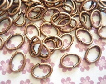 Antiqued Copper Oval 18 gauge Jump Rings 8mm X 6mm Oxidized - Qty 88 Pieces