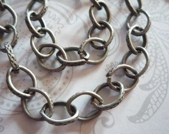 Textured Oval Rolo 6 X 10mm Chain in Antiqued Silver - 48 inches