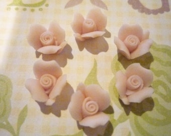 Ceramic Rose Cabochons Sweet Pale Pink Ceramic Rose Flower Flat Back 8mm Qty 6