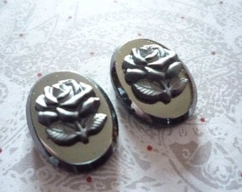 Silver Hematite Glass Rose 18 X 13mm on Acrylic Cameos Cabochons Made in Germany - Qty 2