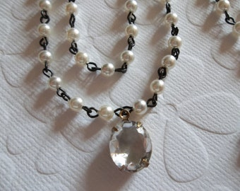 White 4mm Glass Pearls on Jet Black Beaded Chain - Qty 18 Inch strand