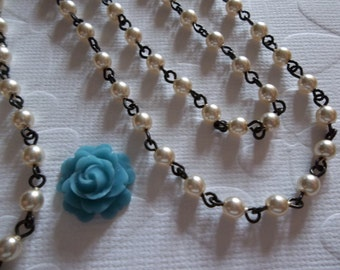 Creme 4mm Glass Pearls on Jet Black Beaded Chain - Qty 18 Inch strand