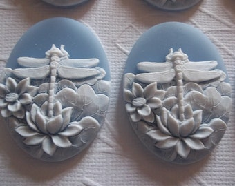 White Dragonfly & Lotus Flowers on Blue Cameo - 40X30mm Resin Cabochons - Qty 6