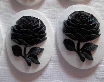 Black Rose Flower on White Cameo - 40 X 30mm Resin Cabochons - Qty 5