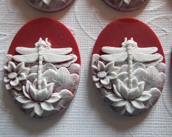 White & Red Dragonfly Cameos - With Lotus Flowers - 40X30mm Resin Cabochons - Qty 2