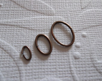 Assorted Oval Antiqued Copper 20 and 22 gauge Jump Rings in Three Sizes 5mm, 8mm & 10mm - 120 Pieces