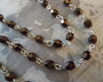Bead Chain Shiny Copper 4mm Fire Polished Glass Beads on Silver Beaded Chain - Qty 18 inch strand