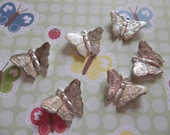 Silver Plated Butterfly Charms Or Pendants with Wings Bent in Flight 18 X 13mm - Qty 6