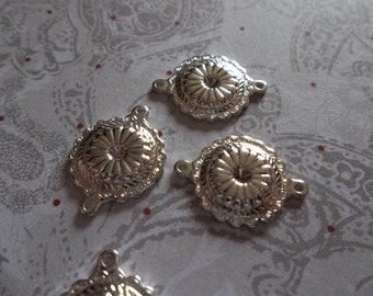 Small Round Connectors - Silver Plated Blossom Charms with 2 Loops - 15 X 12mm - Qty 6