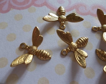 Brass Bee Charms or Pendants with Wings Bent in Flight - 17 X 11mm - Qty 5