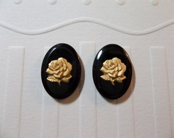 Gold Rose on Jet Black Glass 18 X 13mm Cameos Cabochons Made in Germany - Qty 2