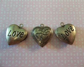 Love Heart Lockets - Antiqued Brass Pendants with Engraved Hearts & Text - Vintage Inspired - Qty 3