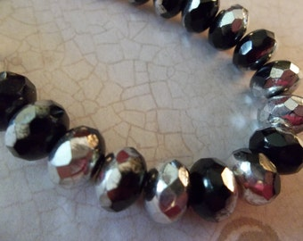 Picasso Faceted Puffy Rondelle Czech Glass Beads in Silver & Jet Black - 7 inch strand