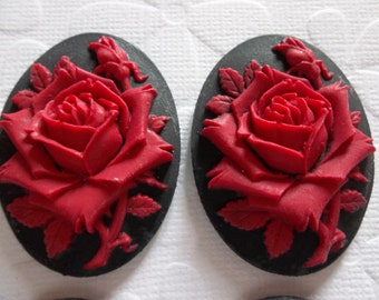 Blooming Red Rose Flower on Black Cameo - 40 X 30mm Resin Cabochons - Qty 3