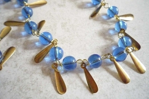 28 inch Blue Glass Beaded chain with Gold Metal Dangles Qty 1
