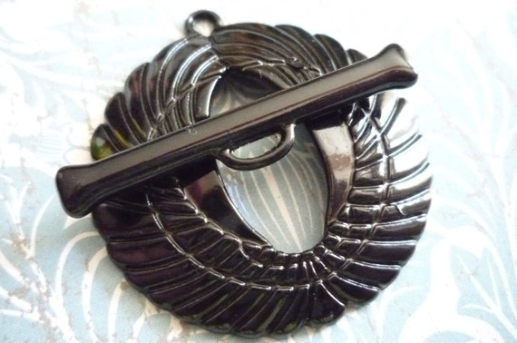 Black Art Deco Bird Wings Large Unique Toggle Clasp Qty 1