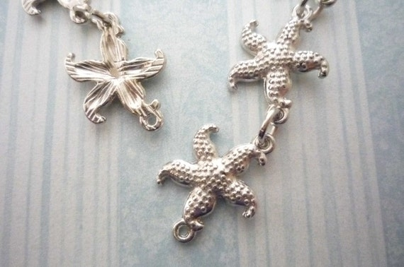 Silver Mini Starfish Charms Connectors with Two Loops Qty 16