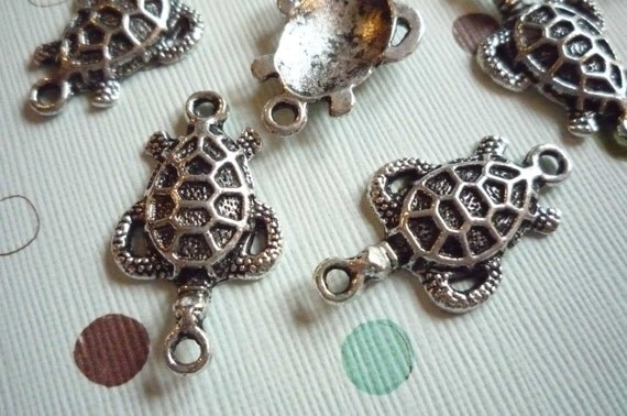 Detailed Antique Silver Turtle Charms Connectors with Two Loops Qty 9