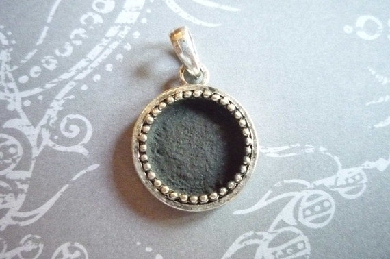 Vintage Collection Sterling Silver Plated Round Beaded Edge Bezel - 14mm Small Pendant Frame Setting Qty 1