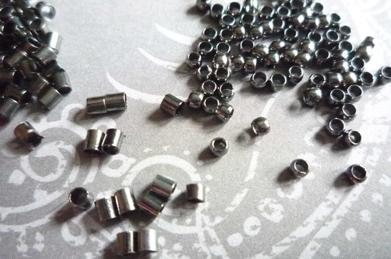 500 Black 2mm Crimp Tubes Beads in Two Shapes