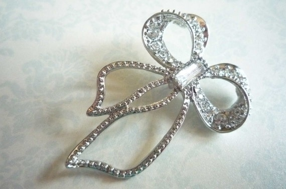 40% Off SALE Silver Rhinestone Bow Pendant with Long Ribbon Ends - Qty1