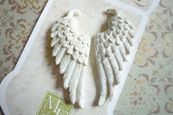 Pair of Shabby Chic White Painted Resin Feathered Wings Vintage Embellishments Cabochons Qty 2