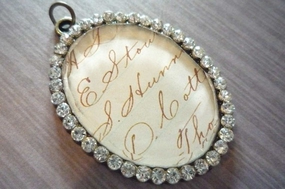 Rhinestone Encircled Oval Pendant with Glass Covered Vintage Style Script Handwriting Qty 1