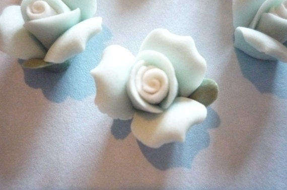 Soft Pastel Blue Ceramic Rose Flower Flat Back 17mm Cabochons with White Center Qty 6