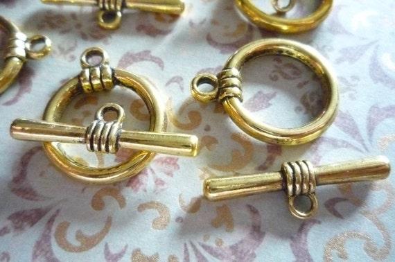 Antiqued Gold 17mm Toggle Clasps Qty 5 Sets