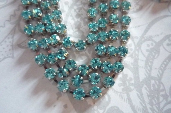 Sparkling Aqua Glass 3mm Rhinestone Chain in Silver Setting - 21 inch Strand