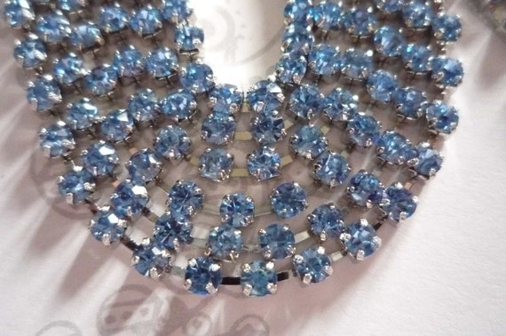 Sparkling Blue Glass 3mm Rhinestone Chain in Silver Setting - Qty 1 yard strand