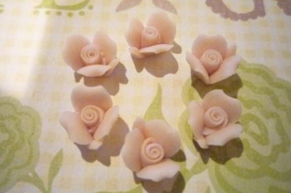 Sweet Pale Pink Ceramic Rose Flower Flat Back 8mm Cabochons Qty 6