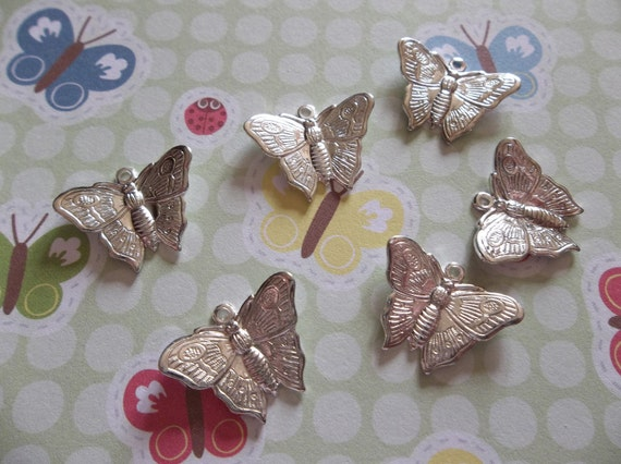 Sterling Silver Plated Butterfly Charms Or Pendants with Wings Bent in Flight 18 X 13mm - Qty 6