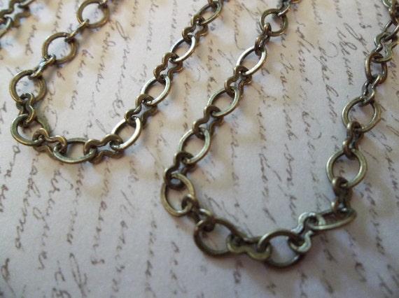 Antique Brass Figure 8, Mixed Peanut & Oval Link Chain 5mm X 4mm - Qty 1 yard
