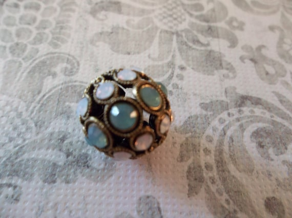 Large 13mm Pacific Opal & White Opal Combo on Antique Gold Swarovski Crystal Rhinestone Encrusted Ball Bead - Qty 1