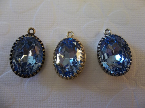 Pair of Czech Glass Light Sapphire Blue Gems in 18mm X 13mm Antiqued Silver OR Gold OR Brass Crown Settings Jewel Drops - Your Choice