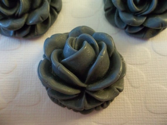 Large 38mm Gray Rose Resin Flower Cameo Cabochons - Qty 6