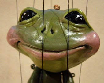 Frog Marionette, made-to-order. hand-made, OOAK