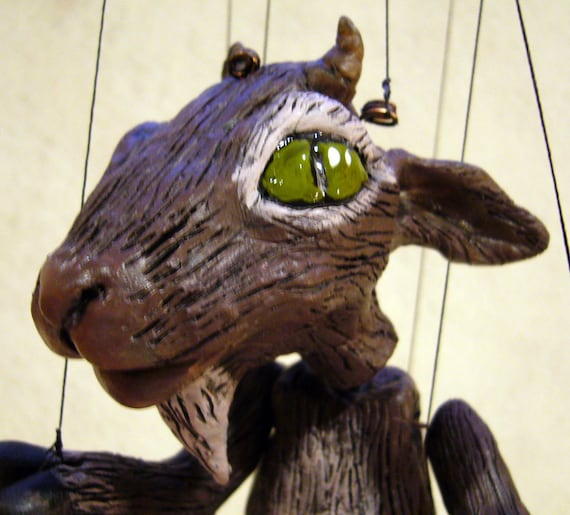 Brown Goat Marionette, hand-made, OOAK