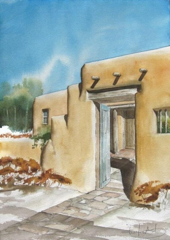 Zaguan Gate - original watercolor painting