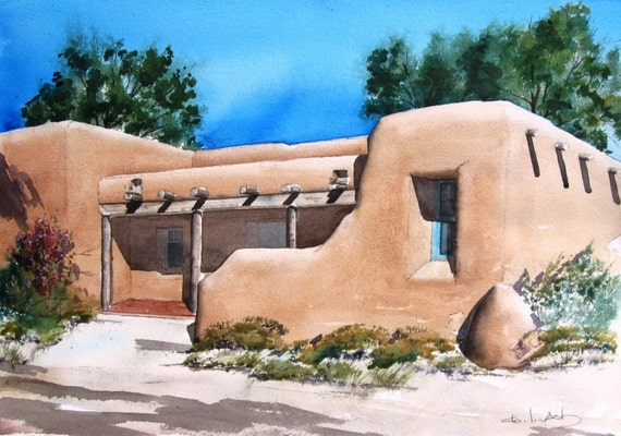 Pueblo style adobe original watercolor painting for Adobe construction pueblo co