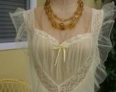 """1950s Vintage Lemon Yellow Babydoll Gown-""""Lemon Drop"""""""