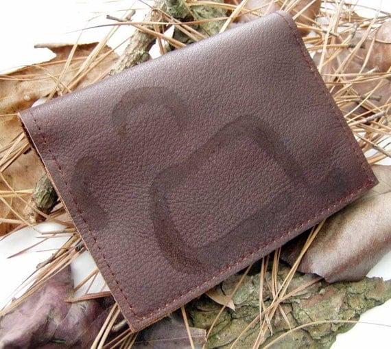 Brown Rustic Rugged Leather Billfold Wallet 2-pockets Branding Marks