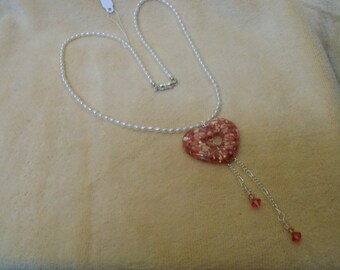 Peach Heart, Swarovski Crystals on Freshwater Seed Pearl Necklace