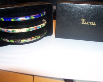 Set of 3 Tacoa Cloisonne Bracelets In Cream, Blue And Black